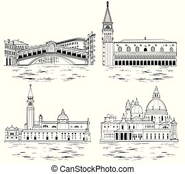 Venice landmarks and tourist attractions set. Vector illustration