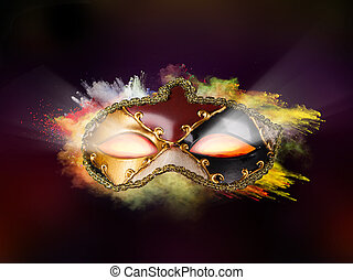 Venice mask with colored powder and glowing eyes - Isolated...