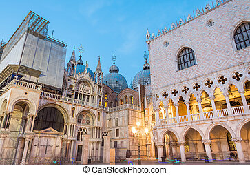 Venice night lights in St Mark Square