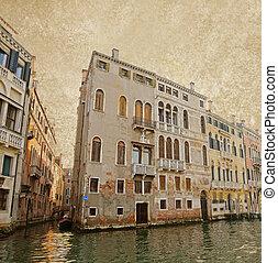 Venice on old canvas background, vintage style