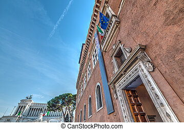 Venice Palace with Altar of the Fatherland on the background in Rome, Italy