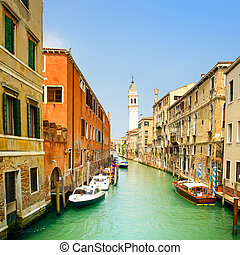 Venice panorama in San Giorgio dei Greci water canal and church campanile. Italy