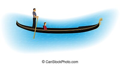 Venice romantic gondolier carries a woman in a gondola. Italian man profession for tourists.