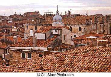 Red roofs of Venice at dawn