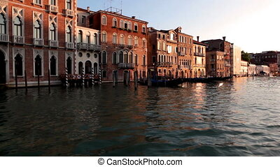 Venice, sea, gondola, sunset