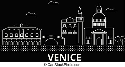 Venice silhouette skyline. Italy - Venice vector city, italian linear architecture, buildings. Venice travel illustration, outline landmarks. Italy flat icons, italian line banner