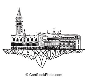 Venice Skyline (Italy). Black and white vector illustration...