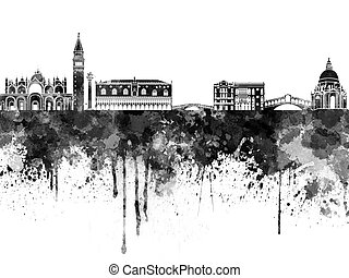 Venice skyline in black watercolor