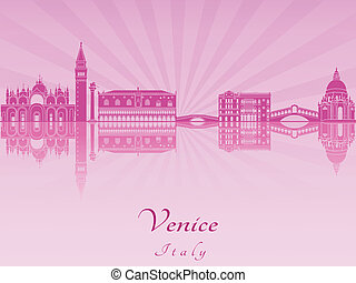 Venice skyline in purple radiant orchid