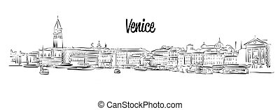 Venice Skyline, Italy, Hand drawn Vector Sketch