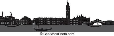 Venice skyline Italy with the bridge and gondola