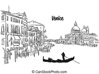 Venice Skyline Panorama Sketch