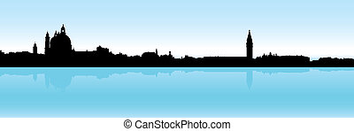 Venice Skyline - Skyline silhouette of the city of Venice, ...