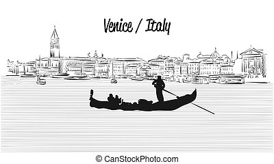Venice skyline with Gondola, Hand drawn Vector Sketch