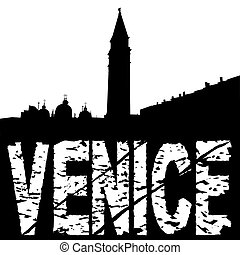 Venice skyline with grunge text
