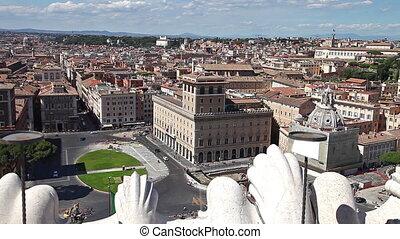 Venezia square aerial view in Rome at Vittoriano monument. Rome, Lazio, Italy.
