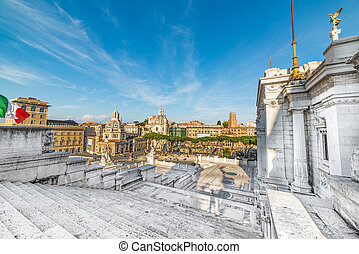 Venice square seen from altar of the fatherland. Rome, Italy