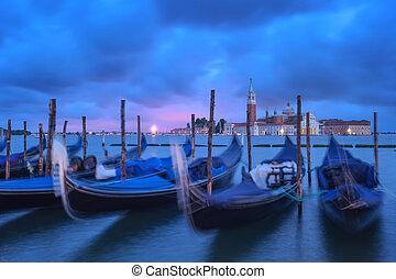 venice gondola on evening time