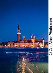 Venice - View of San Giorgio maggiore at night Venice,Italy.