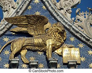 Venice - The basilica St Mark's. Lion of San Marco
