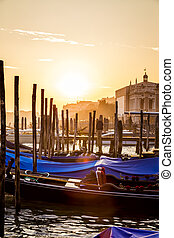 Venice View at Sunset with Gondolas