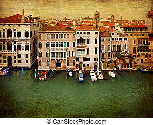 Venice, vintage bird's-eye view of the Grand Canal
