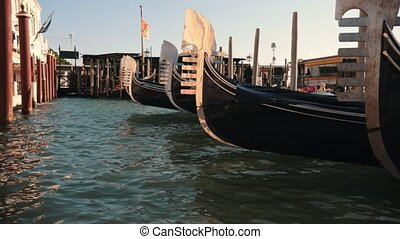 Venice with gondolas moored in row, taken with selective ...