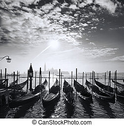 Venice with gondolas on canal in Italy - Famous Venice with...