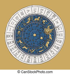 Venice zodiac clock, sketch for your design
