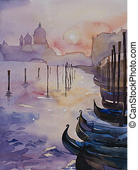 Venice's sunset watercolor