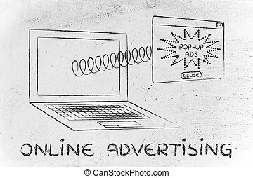 venida, primavera, computador portatil, pop-up, publicidad, en línea, pantalla, afuera