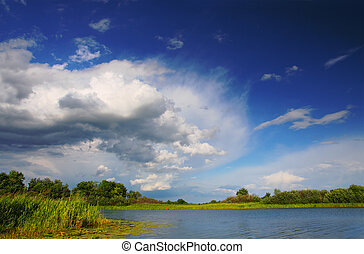 venir, bientôt, orage, lac