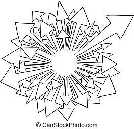venir, icône, flèches, ton, vecteur, text., vide, dessin animé, espace, beaucoup, ajouter, center., ou, illustration, dehors