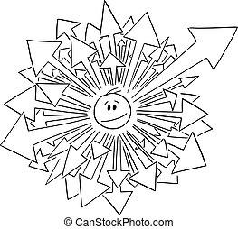 venir, tête, flèches, homme affaires, vecteur, homme, dessin animé, ou, beaucoup, illustration, sien, dehors