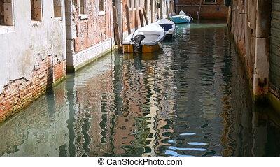 venise, bateau, canal, eau, construire
