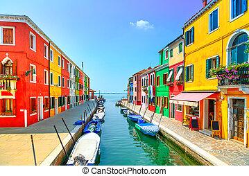 venise, burano, canal, coloré, île, photographie, italy., ...