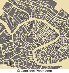 ville venise plan color venise poster cadeau color carte vendange voyage map. Black Bedroom Furniture Sets. Home Design Ideas