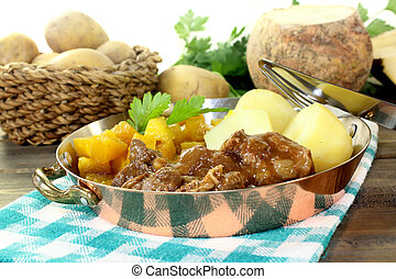 Venison goulash - Game stew with turnips vegetables and...