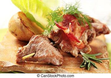 Venison souvlaki and bacon strips - Venison souvlaki and...