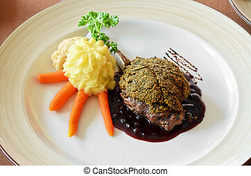 venison with whortleberry sause, herb and vegetales