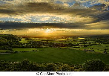 venkov, ohromující, západ slunce, nad, krajina
