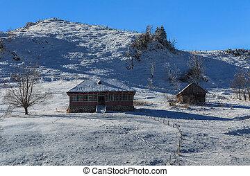 venkovský, ubytovat se, bojiště, sněžný