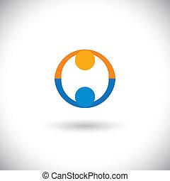 vennootschap, concept, mensen, groet, iconen, deal., vector