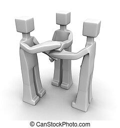 vennootschap, en, teamwork, concept