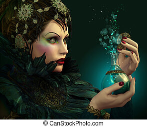 Venom - Portrait of a young lady with bottle in her hand