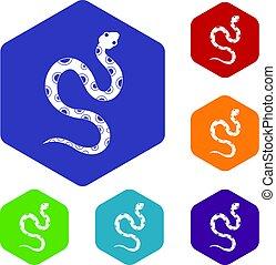 Venomous snake icons set hexagon isolated vector...