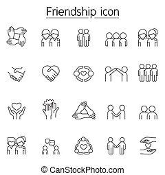 venskab, sæt, ikon, tynd linje, firmanavnet