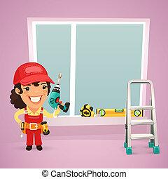 venster, arbeider, installeren, vrouwlijk