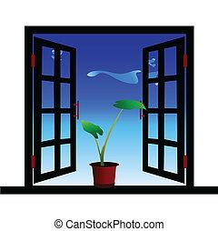 venster, bloemen, illustratie