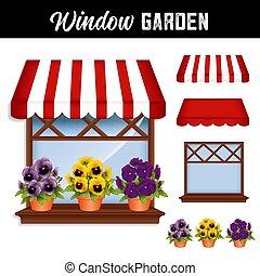 venster, bloemtuin, viooltjes, rood en wit, zonwering